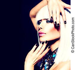 kobieta, włosy, piękno, na, czarnoskóry, paznokcie, biały