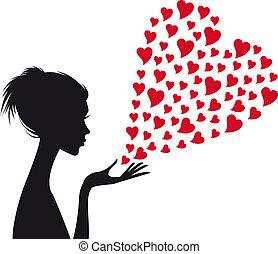 kobieta, wektor, czerwony, serca