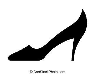 kobieta, wektor, obuwie, ikona