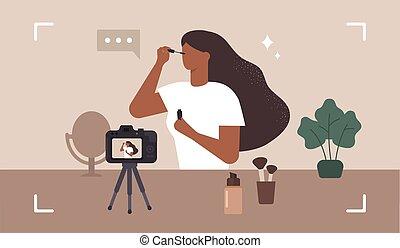 kobieta, wektor, piękno, influencer., kompensować, makijaż, blogger., nagranie, video.