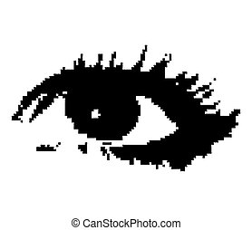 kobieta, wektor, pixelated, eye.