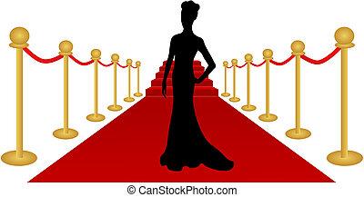 kobieta, wektor, sylwetka, czerwony dywan