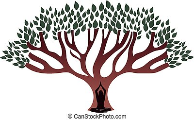 kobieta, wielkie drzewo, rozmyślać, pod, gruby