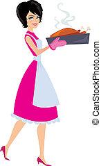 kobieta, wypiek, ilustracja