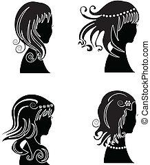 kobieta, wystawiany włos, piękno