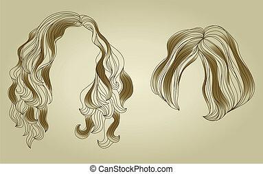 kobieta, wystawiany włos, tytułowanie