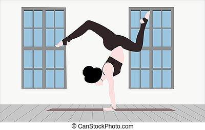 kobieta, wzruszenia, młody, twarz, stanie poza, opróżniać, czysty, ręka, asana, yoga, skorpion, faceless, mata, pokój, waga, vrischikasana, bhuja