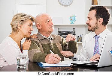 kobieta, znak, człowiek, porozumienie, sprzedaż, stary