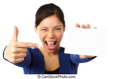 kobieta, /, znak, dzierżawa, czysty, biały, karta