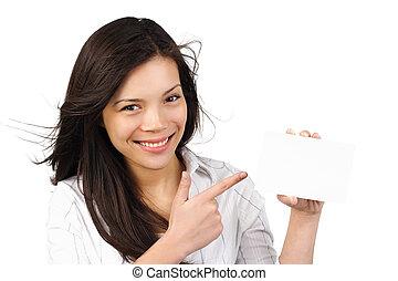 kobieta, /, znak, papier, dzierżawa, czysty, karta