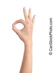 kobieta, zrobienie, gest, ok, ręka