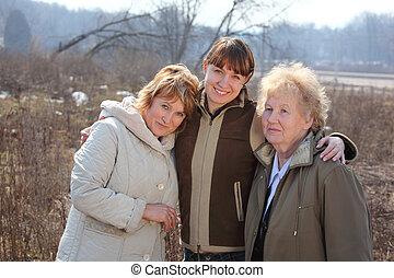 kobiety, generacje, jeden, rodzina, trzy