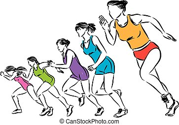 kobiety, ilustracja, biegacze, wektor, grupa