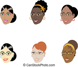 kobiety, mądry, twarze