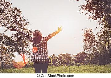 kobiety, młody, co, cieszący się, nature.