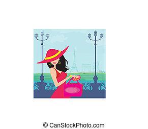 kobiety, paryż, piękny, zakupy