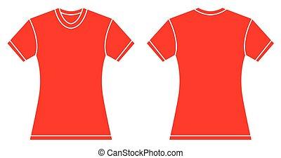 kobiety, projektować, koszula, szablon, czerwony