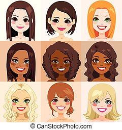 kobiety, rozmaitość, skóra