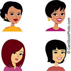 kobiety, rysunek, avatar, multi-ethnic