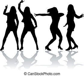 kobiety, silhouettes.