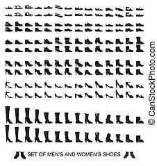 kobiety, sylwetka, mężczyźni, obuwie, odizolowany