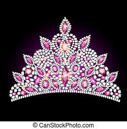 kobiety, tiara, różowy, gemstones, korona
