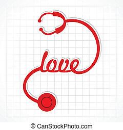 kochać się, słowo, stetoskop