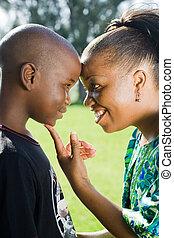 kochający, macierz, afrykanin, syn