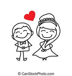 kochankowie, litera, rysunek, ślub, ręka, rysunek