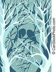 kochankowie, zima, śnieżny, posiedzenie, drzewa, sylwetka, pogoda, goły, para, image., ptaszki, trójwymiarowy