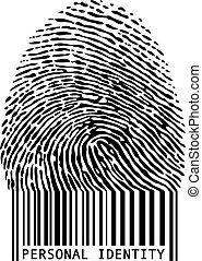 kod paskowy, odcisk palca