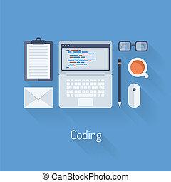 kodowanie, programowanie, ilustracja, płaski