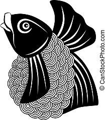 koi ryba, czarnoskóry, biały, ilustracja