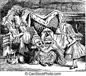 kok, alice, duchess, kot, ilustracja, cheshire, niemowlę, rocznik wina