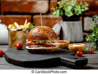 kok, hamburger, klasyk, sezam