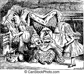 kok, illustratio, alice, duchess, kot, cheshire, niemowlę, rocznik wina