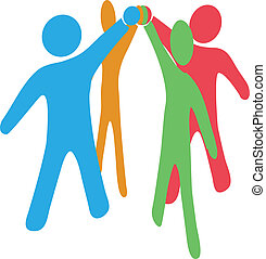 kolaborować, wstąpić, ludzie, ręki do góry, razem, drużyna