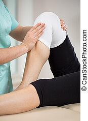 kolano, krzywda, pacjent, po
