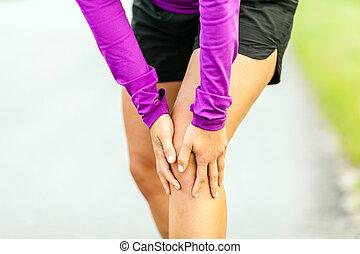 kolano, wyścigi, fizyczna szkoda, ból