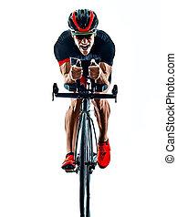 kolarstwo, biały, sylwetka, rowerzysta, triathlete, tło, odizolowany, triathlon