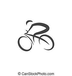 kolarstwo, wektor, ilustracja, logo, projektować, ikona