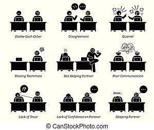 kolega, wzmacniacz, handlowy, pracujący, biuro., razem, miejsce pracy, inefficiently