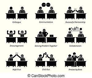 kolega, wzmacniacz, handlowy, pracujący, biuro., razem, miejsce pracy, skutecznie