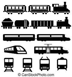 kolejowy pociąg, przewóz, ikony