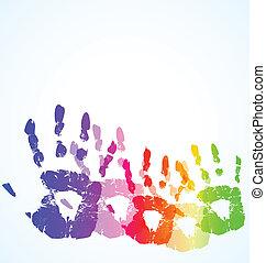 kolor, abstrakcyjny, ręka, wektor, tło, druk