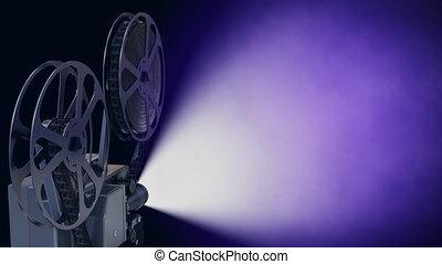kolor, błękitny, fractal, lekki, opróżniać, ekran, kino, promienie, rzutnik, film