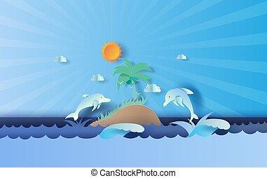 kolor, beautiful., karta, niebo, wyspa, skokowy, lato, tone., prospekt, wektor, kunszt, delfin, papier, pora, motyw morski, projektować, cięty, życie, błękitny, pastel, style., tło, morze, twórczy, chorągiew, afisz