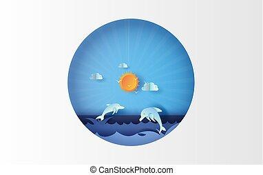 kolor, beautiful., niebo, skokowy, lato, tone., sztuka, prospekt, poster., wektor, kunszt, delfin, papier, pora, motyw morski, cięty, 3d, circle., życie, błękitny, pastel, style., ilustracja, morze, tło