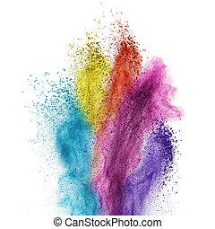 kolor, biały, wybuch, odizolowany, proszek