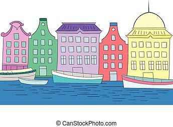 kolor, domy, wektor, kanał, ilustracja